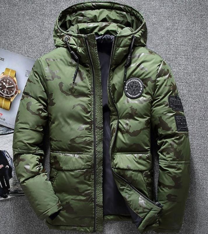 e243103a416de Модный Мужской Зеленый Пуховик с Капюшоном Z-178