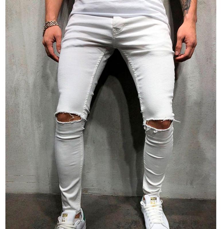 d07a659f9f0 Белые мужские джинсы с рваными коленями D-189 купить