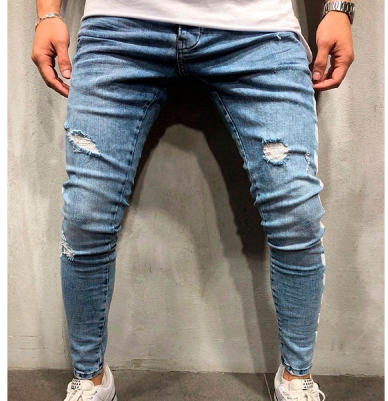 760dc996038 Модные мужские синие джинсы с принтами D-190 купить
