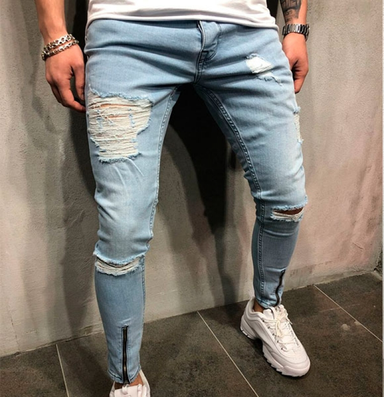 5687f28cbf2 Светлые мужские рваные джинсы D-193