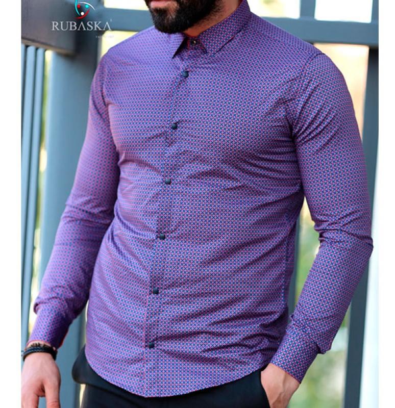 b540ebebf0a826e Мужская фиолетовая рубашка Р-500 купить в Украине