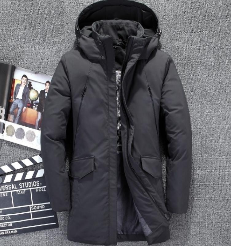 9d675a2214d9 Стильная серая зимняя удлиненная куртка Z-179