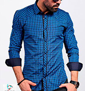 6a7af69255e Темно синяя рубашка в клетку Р-514