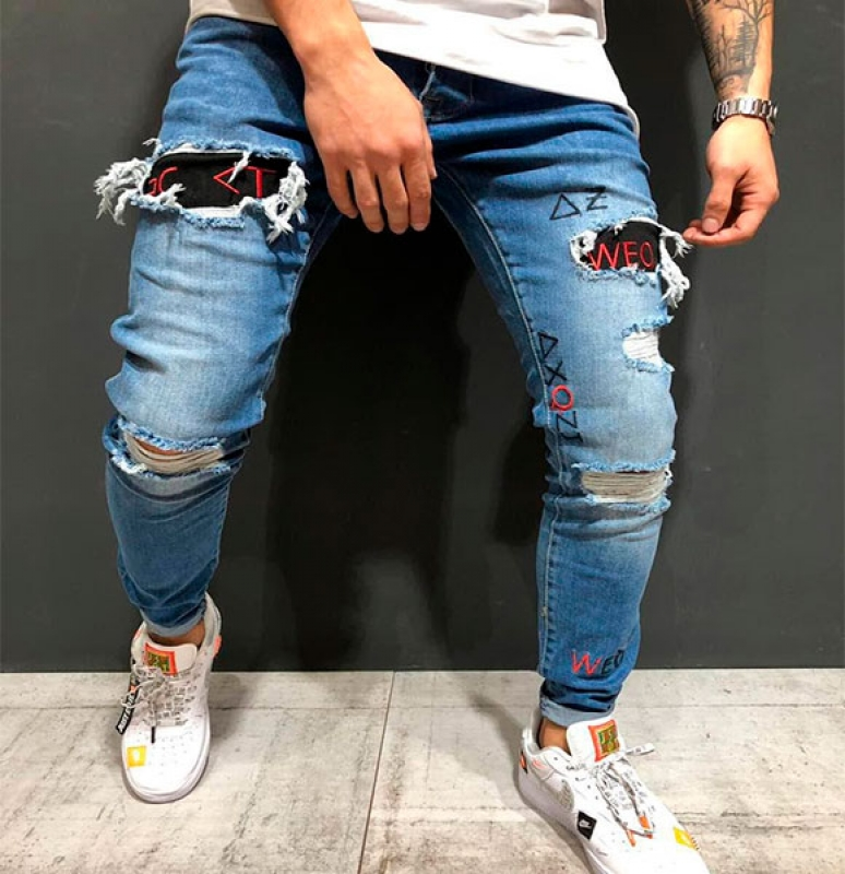 01883f5256d Модные рваные синие мужские джинсы D-210