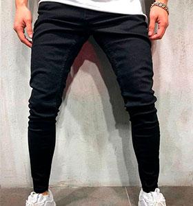 9cc97f9b684 Черные мужские зауженные джинсы D-213