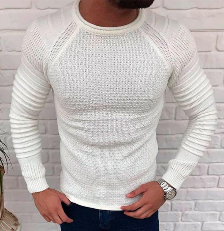 8526be8b3ed8 Белый мужской свитер S-198 купить