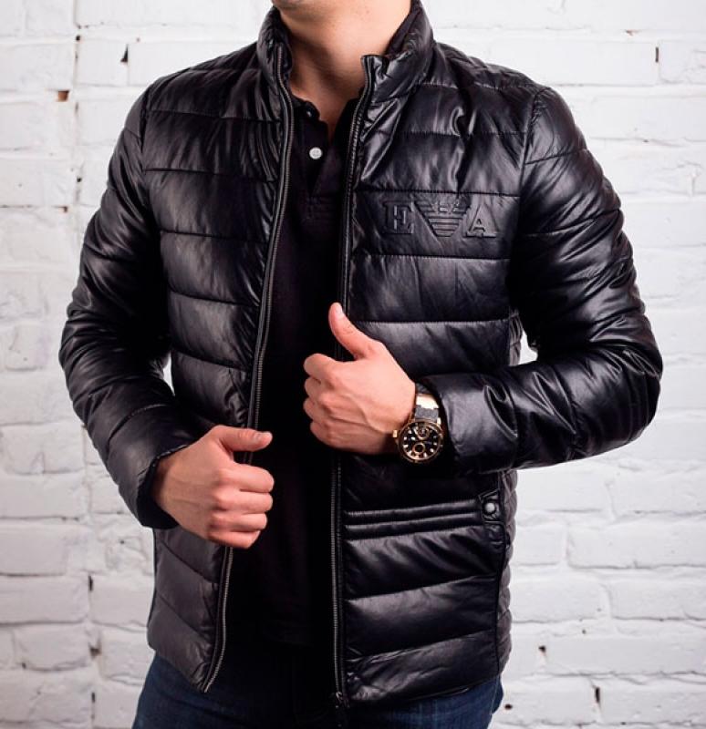 09887391686dd Мужская зимняя кожаная куртка Armani Z-204