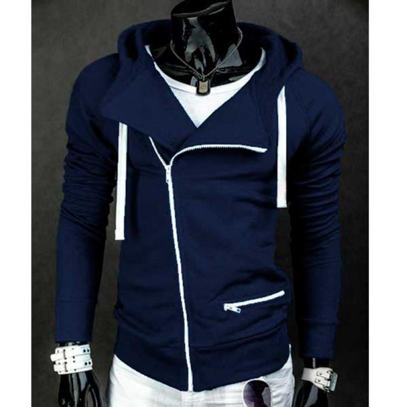 Синяя мужская толстовка с косой молнией Т-193 8fe4bc6ed4eb2