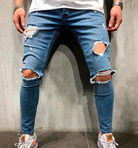 6240f9fecdf Синие рваные мужские джинсы D-243 купить