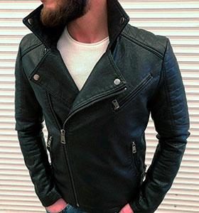 Черная кожаная куртка с косой молнией (косуха) К-246 2f5d9f9edb2b1