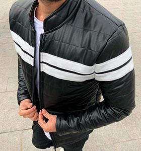 Мужская кожаная куртка с белыми вставками К-250 55c37dcdf390a