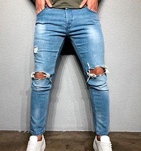 2a10e56b8b5 Мужские светлые джинсы с рваными коленями D-254