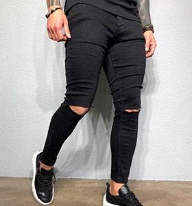 71aec64335c Черные мужские джинсы с рваными коленями D-257