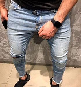 7668a4dbb92 Стильные светлые джинсы со рваными коленями D-265