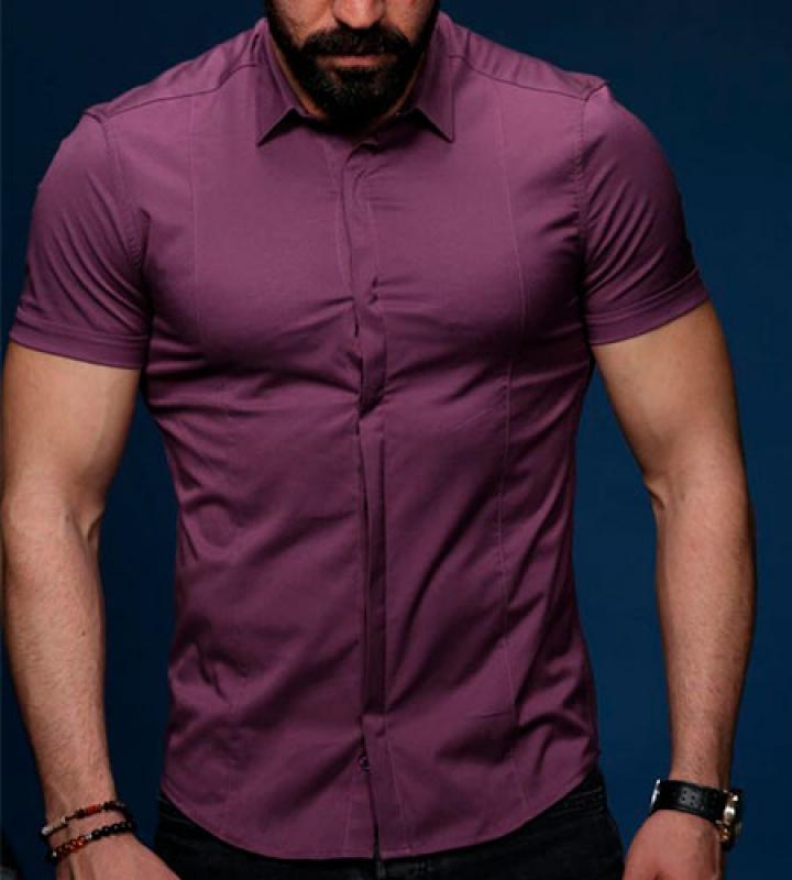 358906d7867dcde Фиолетовая Мужская Летняя Рубашка с Коротким Рукавом Р-440 купить