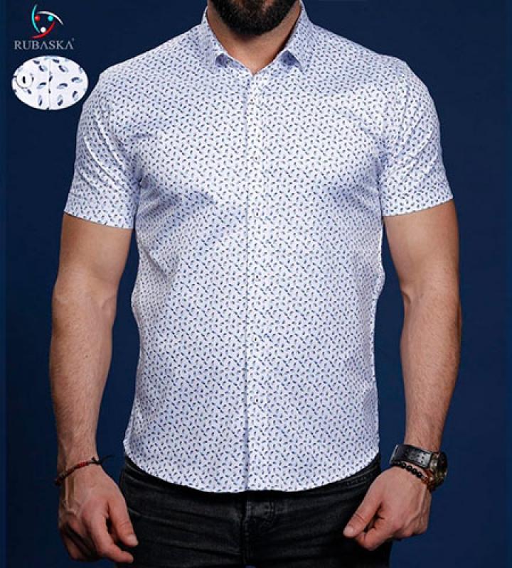 бирюзовая рубашка мужская с коротким рукавом