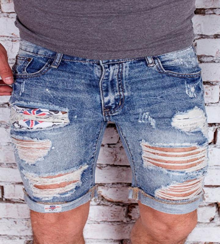 Мужские джинсовые шорты с дырками
