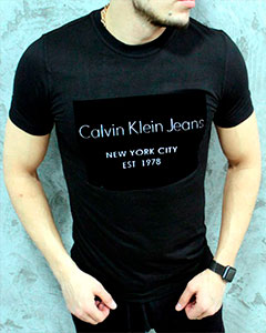 Черная Мужская Футболка Calvin Klein Ф-260