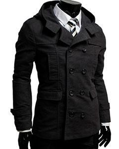 Стильное Черное Мужское Пальто К-138