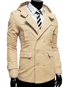 Бежевое Мужское Пальто К-139