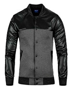 Мужская Легкая Курточка с Кожаными Рукавами К-148