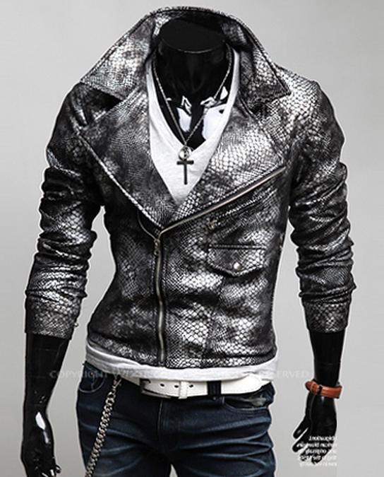 Стильная мужская куртка из крокодиловой кожи.(Цвет - серебристый, размер - XL) .
