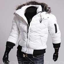 Белая Куртка с Меховым Воротником KR-68