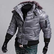 Серая Куртка с Меховым Воротником KR-69