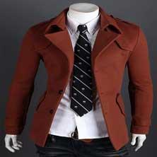 Коричневое Мужское Пальто K-75
