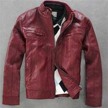 Красная Кожаная Мужская Куртка К-90