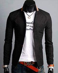 Модный Чёрный Пиджак П-106