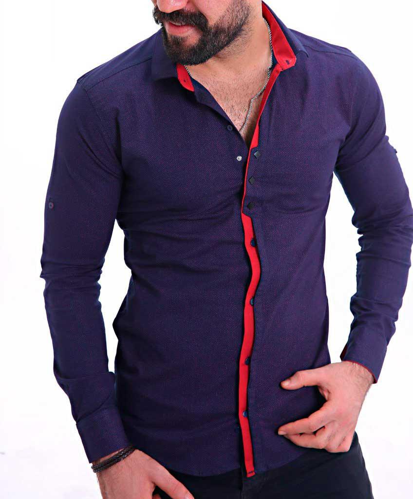 Стильная Фиолетовая Мужская Рубашка Р-110