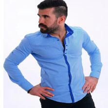 Голубая Мужская Рубашка с Длинным Рукавом Р-111
