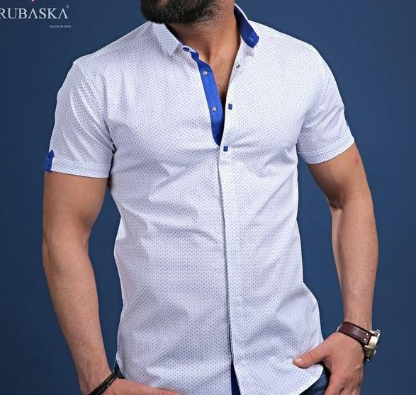5867236d3 Белая Мужская Рубашка с Коротким Рукавом Р-118