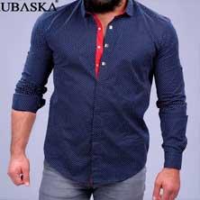 Темно-Синяя Рубашка с Красной Вставкой Р-151