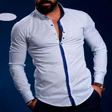 Белая Мужская Рубашка с Синей Вставкой Р-170