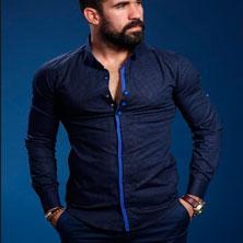 Синяя Модная Рубашка Мужская Р-173