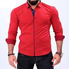 Модная Красная Мужская Рубашка Р-174