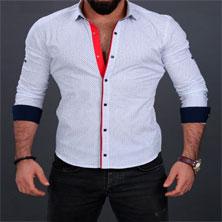 Белая Рубашка Мужская с Красной Вставкой Р-177