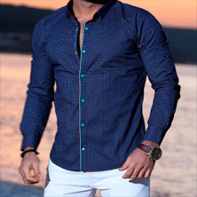 Стильная Мужская Синяя Рубашка Р-180