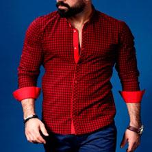 Красная Клетчатая Рубашка Мужская Р-182