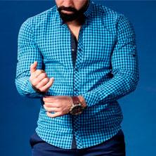Голубая Рубашка Мужская в Клетку Р-184