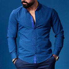 Стильная Синяя Рубашка в Клетку Р-185
