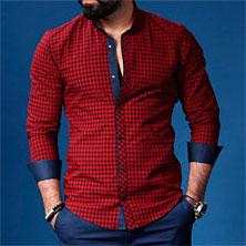 Мужская Красная Рубашка в Клетку Р-186