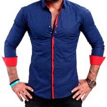 Синяя Рубашка с Красными Вставками Р-187