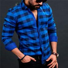 Синяя Рубашка в Клетку Мужская Р-191
