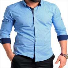 Мужская Голубая Рубашка с Длинным Рукавом Р-196