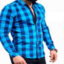 Голубая Мужская Рубашка в Клетку Р-200
