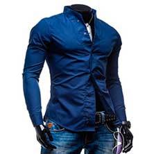 Стильная Синяя Длинная Рубашка Р-207
