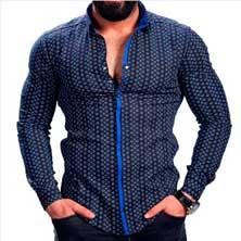 Стильная Синяя Рубашка Р-212